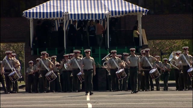 military preparations; royal marines bands entering square as playing music sot / military bands along past marquee / various general views of bands... - royal marines stock videos & royalty-free footage