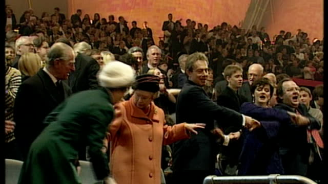 notable omissions from guest list lib / greenwich int tony blair queen cherie blair prince philip and others singing auld lang syne on millennium eve - guest stock videos & royalty-free footage