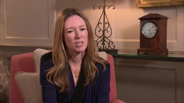 royal wedding of prince harry and meghan markle: interview with dress designer and hairdresser; clare waight keller interview sot - re meghan... - abito da sposa video stock e b–roll