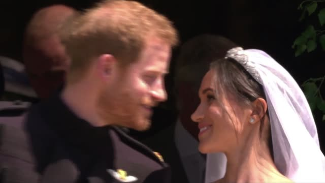 royal wedding of prince harry and meghan markle interview with dress designer clare waight keller ext meghan duchess of sussex and prince harry from... - hochzeit stock-videos und b-roll-filmmaterial
