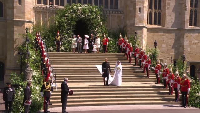 royal wedding of prince harry and meghan markle itv news special 1225 1325 england berkshire windsor windsor castle st george's chapel ext **music... - prince harry stock videos & royalty-free footage