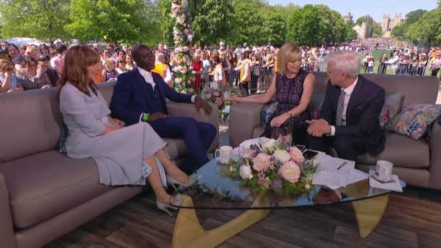 Royal wedding of Prince Harry and Meghan Markle ITV News Special 1425 1455 ENGLAND Berkshire Windsor Long Walk Julie Etchingham and Phillip Schofield...