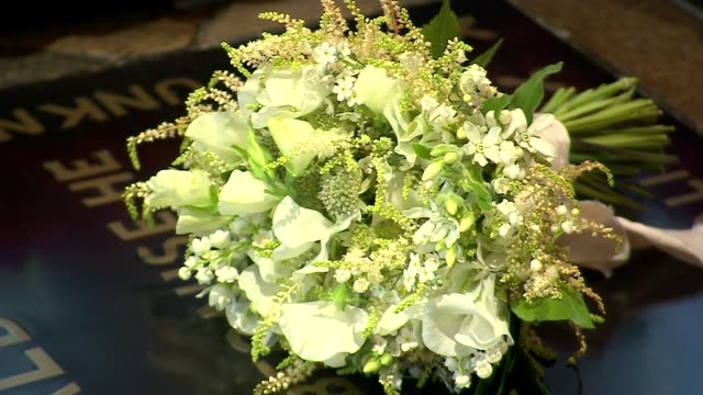 royal wedding of prince harry and meghan markle meghan's wedding bouquet in westminster abbey england london westminster westminster abbey int close... - bouquet stock videos & royalty-free footage
