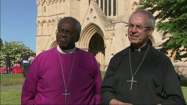 royal wedding of prince harry and meghan markle reverend justin welby and bishop michael curry postwedding interview england berkshire windsor ext... - archbishop of canterbury stock videos and b-roll footage