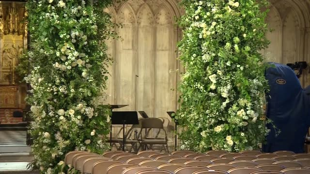 royal wedding of prince harry and meghan markle st george's chapel flowers and seating int general views st george's chapel windsor with seats set up... - choir stock videos & royalty-free footage