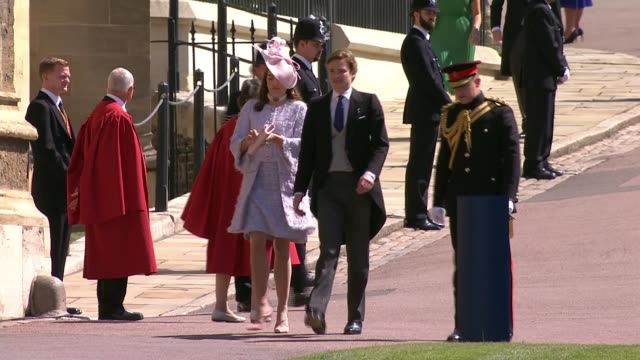 royal wedding of prince harry meghan markle itv news special ceremonial feed 1010 1110 england berkshire windsor windsor castle ext wedding guests... - guest stock videos & royalty-free footage