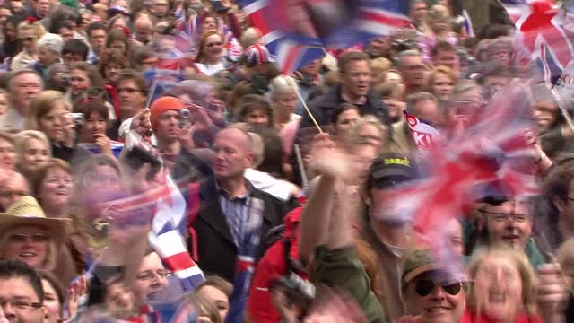 royal wedding of prince william and kate middleton: itv news special ceremonial feed: hd version 1200 - 1300; england: london: the mall: various... - union jack stock videos & royalty-free footage