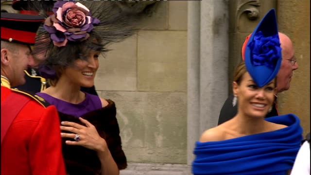 royal wedding of prince william and kate middleton itv news special pab 0930 1030 westminster abbey ext tara palmertomkinson and her sister santa... - wrap dress stock videos and b-roll footage