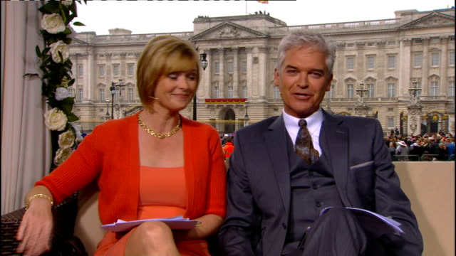 royal wedding of prince william and kate middleton itv news special pab 0930 1030 int julie etchingham and philip schofield studio ben de lisi... - phillip schofield stock videos & royalty-free footage