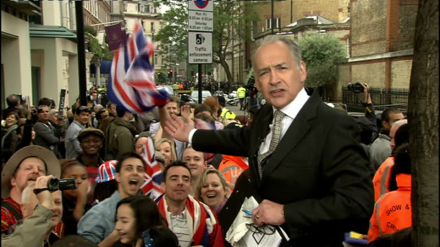 Royal wedding of Prince William and Kate Middleton ITV News Special PAB 0930 1030 Alastair Stewart 2 WAY from outside Goring Hotel CUTAWAYS of Rolls...