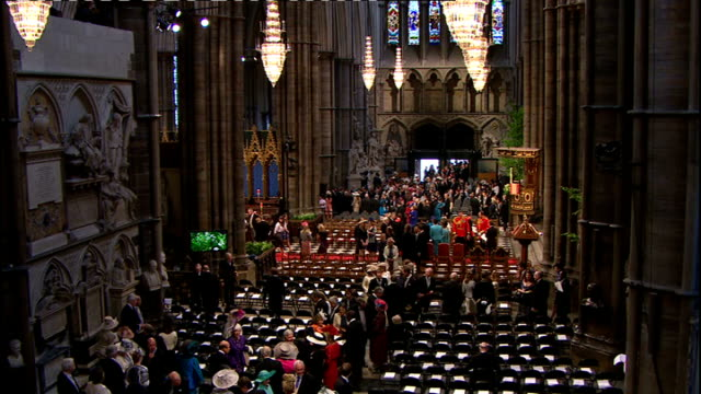 Royal wedding of Prince William and Kate Middleton ITV News Special Ceremonial Feed 0800 0900 Various shots of wedding guests arriving High angle...