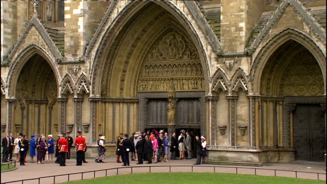 Royal wedding of Prince William and Kate Middleton ITV News Special Ceremonial Feed 0900 1000 David Beckham and his wife Victoria Beckham lining up...