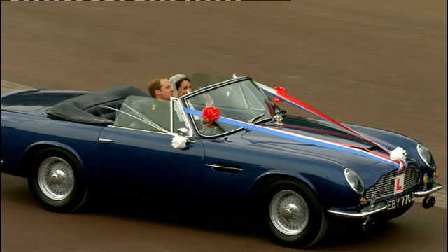 Royal wedding of Prince William and Kate Middleton ITV News Special Ceremonial Feed 1500 1600 Various shots of Duke of Cambridge driving his new wife...