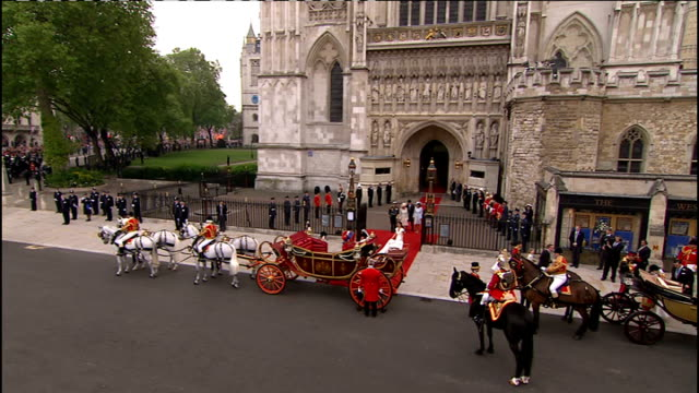 Royal wedding of Prince William and Kate Middleton ITV News Special Ceremonial Feed 1200 1300 Duke and Duchess of Cambridge walk along red carpet...