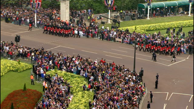 Royal wedding of Prince William and Kate Middleton ITV News Special Ceremonial Feed 1200 1300 Various shots of Household Cavalry marching along The...