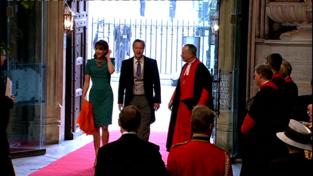 Royal wedding of Prince William and Kate Middleton ITV News Special Ceremonial Feed 1000 1100 EXT High Angle GV of Westminster Abbey with red carpet...