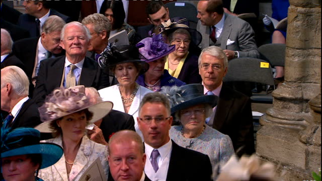 Royal wedding of Prince William and Kate Middleton ITV News Special Ceremonial Feed 1000 1100 INT High Angle GV inside Westminster Abbey with guests...