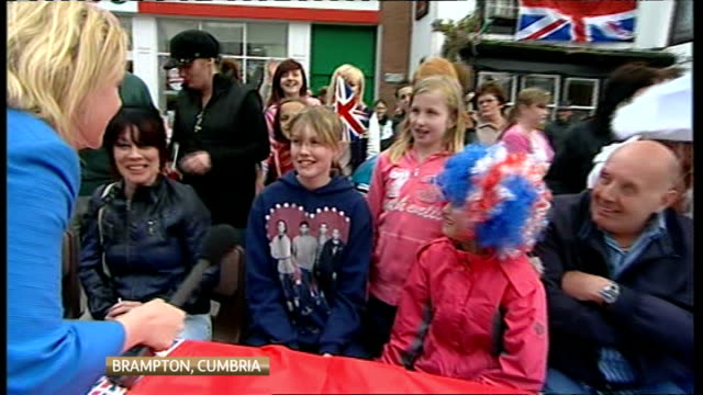 royal wedding of prince william and kate middleton itv news special pab 1430 1530 cumbria brampton ext emma murphy live as people at street party... - street party stock videos and b-roll footage