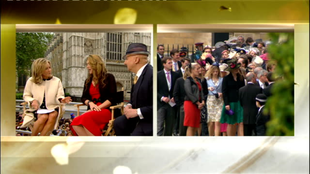 royal wedding of prince william and kate middleton itv news special pab 0825 0930 live mary nightingale outside the abbey and celia waldon and... - milliner stock videos and b-roll footage