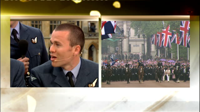 Royal wedding of Prince William and Kate Middleton ITV News Special PAB 1230 1330 SPLIT SCREEN STUDIO Anne Nightingale interviews Prince William's...
