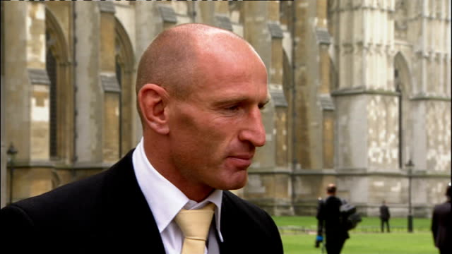 royal wedding of prince william and kate middleton itv news special pab 1230 1330 romilly weeks interview with gareth thomas outside westminster... - gareth thomas rugby player stock videos & royalty-free footage