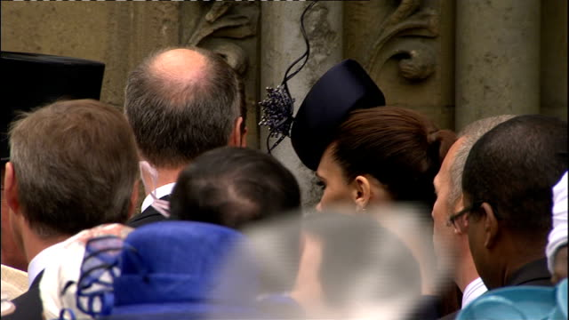 Royal wedding of Prince William and Kate Middleton ITV News Special PAB 1230 1330 Crowds lining The Mall Grenadier Guards along The Mall High angle...