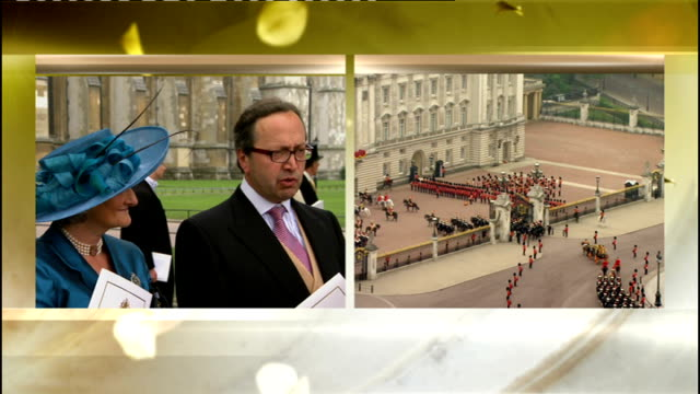 Royal wedding of Prince William and Kate Middleton ITV News Special PAB 1130 1230 SPLIT SCREEN Romilly Weeks interviews Claire and Alex van...