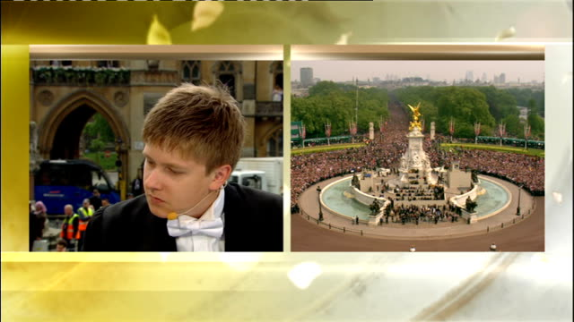 Royal wedding of Prince William and Kate Middleton ITV News Special PAB 1230 1330 High angle shot of crwods entering Victoria Palace roundabout area...