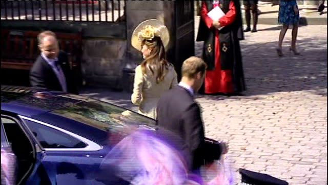 Royal wedding of Zara Phillips to Mike Tindall Princess Anne arriving Queen Elizabeth II and Prince Philip Duke of Edinburgh out of car William Duke...