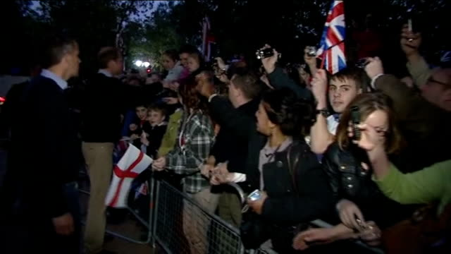 prince william walkabout in the mall; side view of william talking to children and others gvs william bending over to talk to small child gvs william... - bending over stock videos & royalty-free footage