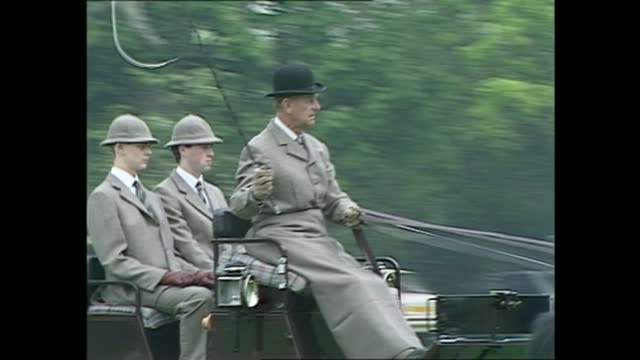 royal windsor horse show: queen and duke of edinburgh; england: berkshire: windsor:gvs prince philip, duke of edinburgh driving horse and trap; queen... - moving image stock videos & royalty-free footage