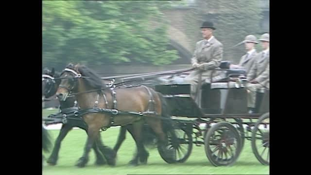royal windsor horse show: queen and duke of edinburgh; england: berkshire: windsor:extgvs prince philip, duke of edinburgh driving horse and trap ;... - driving stock videos & royalty-free footage