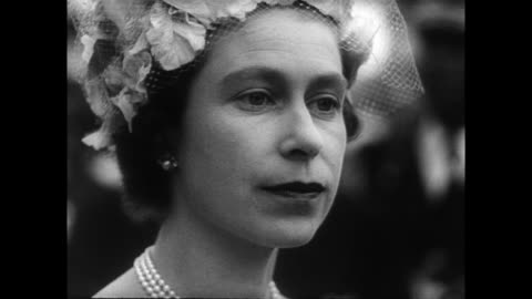 vidéos et rushes de / royal yacht britannia arriving at monrovia / queen elizabeth and prince philip greeted by president tubman and his wife as they disembark in front... - 1961