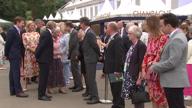 royals attend chelsea flower show; england: london: chelsea flower show: ext prince edward, earl of wessex and sophie, countess of wessex arriving... - royal horticultural society stock videos & royalty-free footage
