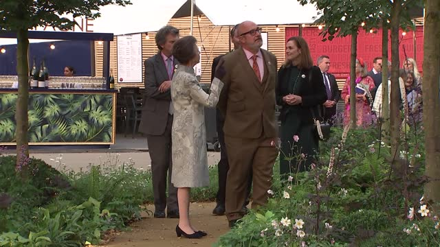 royals attend chelsea flower show; england: london: chelsea flower show: ext princess anne, princess royal and her husband vice admiral sir timothy... - royal horticultural society stock videos & royalty-free footage