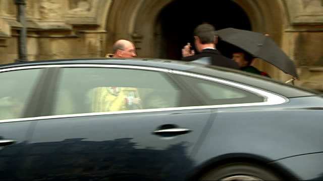 royals attend easter service at windsor castle arrivals / departures princess anne princess royal and husband sir timothy laurence arriving / cars... - lady louise windsor stock videos and b-roll footage