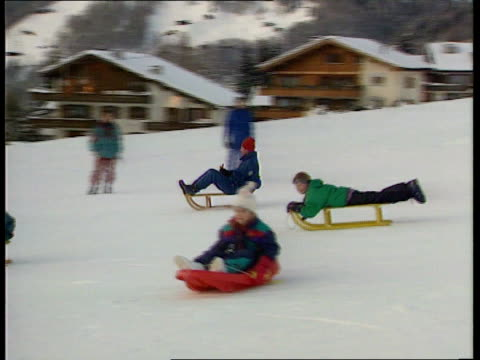 Royals on ski holiday MS SIDE Prince William Prince Harry Beatrice and Eugenie on sledges PAN RL as pastMS SIDE Duchess of York and another...