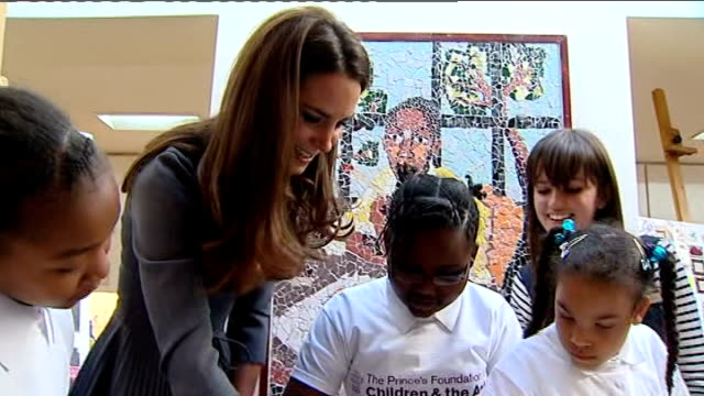 royals visits dulwich picture gallery: arrival and interiors; more of prince charles and duchess of cambridge doing collage artwork with... - dulwich stock videos & royalty-free footage