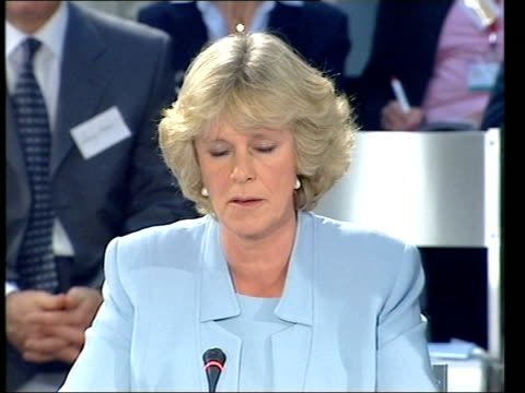 camilla parker bowles first public speech; itn portugal: lisbon: int camilla parker bowles speech sot - she could not breath without oxygen or even... - コーンウォール公爵夫人 カミラ点の映像素材/bロール