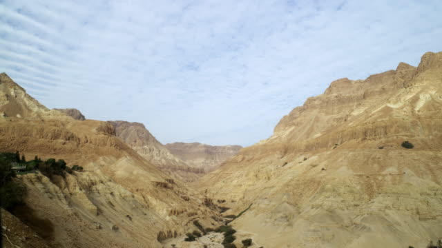 Royalty Free Stock Video Footage of a dry desert canyon shot in Israel at 4k with Red.