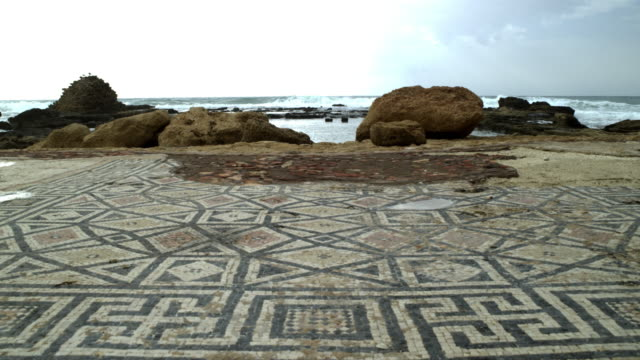 Royalty Free Stock Video Footage of a mosaic on the seashore shot in Israel at 4k with Red.