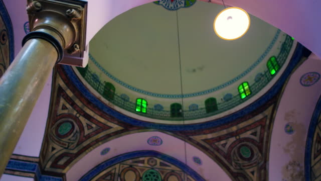 royalty free stock video footage of a mosque ceiling filmed in israel at 4k with red. - akko stock videos and b-roll footage