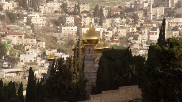 Royalty Free Stock Video Footage of the Church of Maria Magdalene filmed in Israel at 4k with Red.