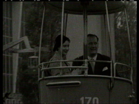 princess margaret: obituary; lib belgium: brussels: b/w princess margaret riding in cablecar during visit to the brussels exhibtion lib england:... - b rolle stock-videos und b-roll-filmmaterial