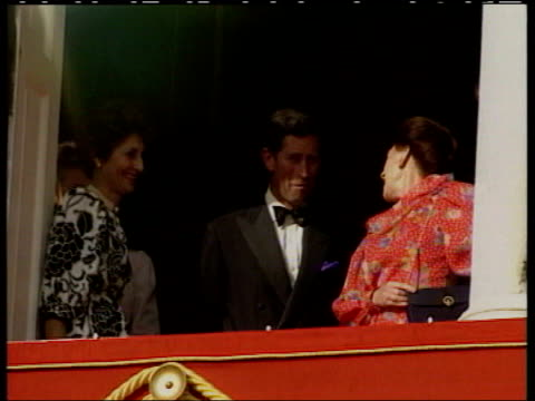 vídeos y material grabado en eventos de stock de princess margaret obituary lib ext princess margaret and prince charles standing on balcony princess margaret along with royal air force officer pan - 2002