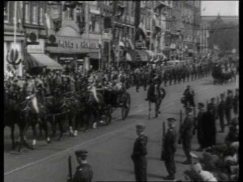 royalty riding in carriage on city street / holland / no sound - pflanzenfressend stock-videos und b-roll-filmmaterial