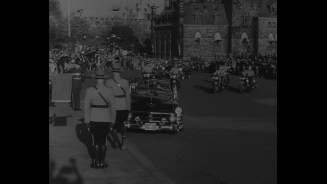 royl canadian air force coronation trupeters on steps of parliament hill / open top car pulls up to curb outside parliament hill / canadian prime... - parliament hill stock videos and b-roll footage