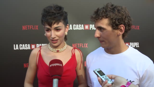úrsula corberó and miguel herrán, money heist serie protagonists, talk about their work in season 3 in madrid - television show stock-videos und b-roll-filmmaterial