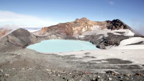 stockvideo's en b-roll-footage met ruapehu crater lake, new zealand - 2012