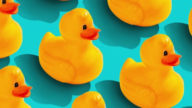 rubber duckl pattern on color background. from top view - duck stock videos & royalty-free footage